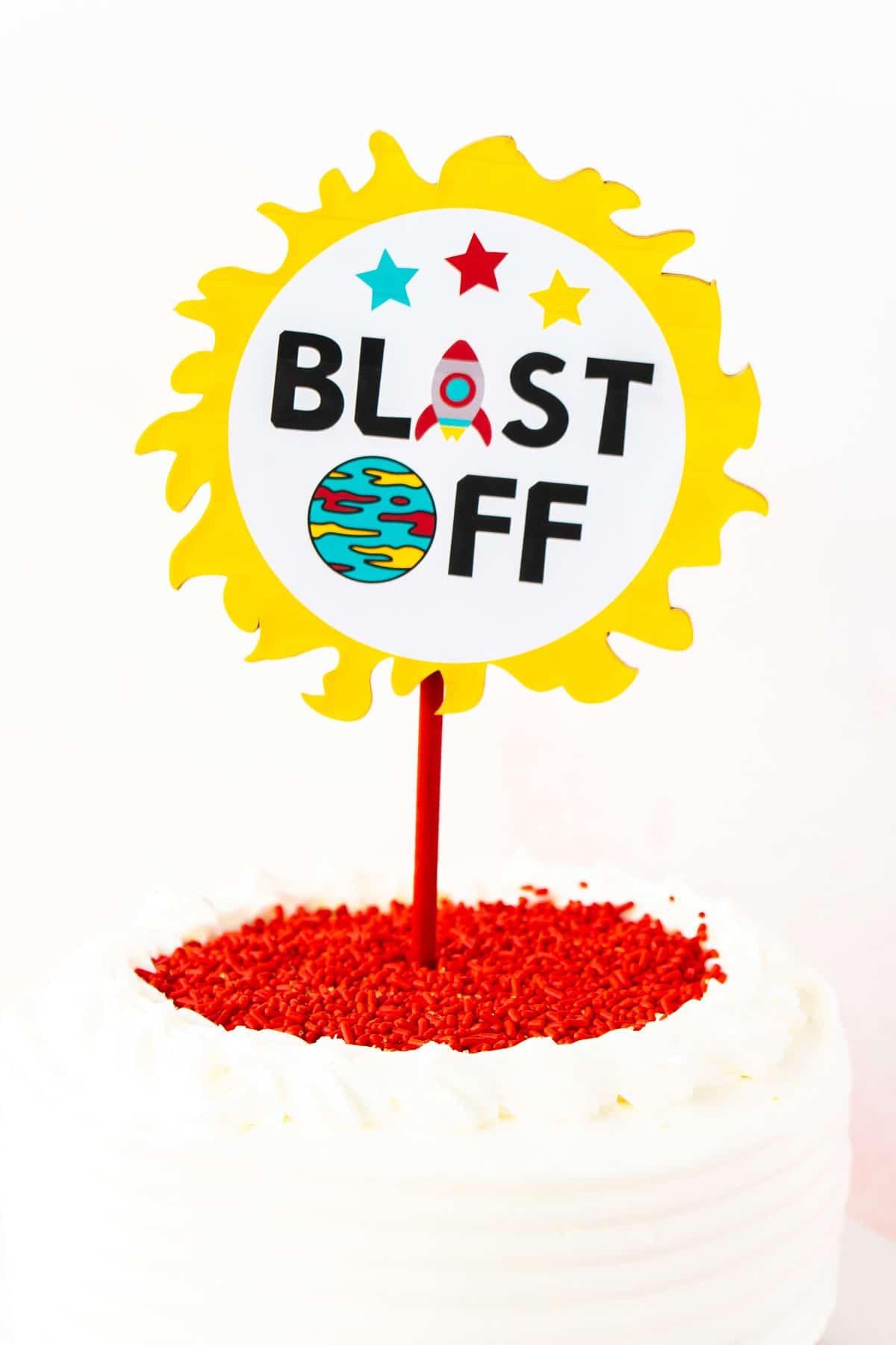 blast off cake topper
