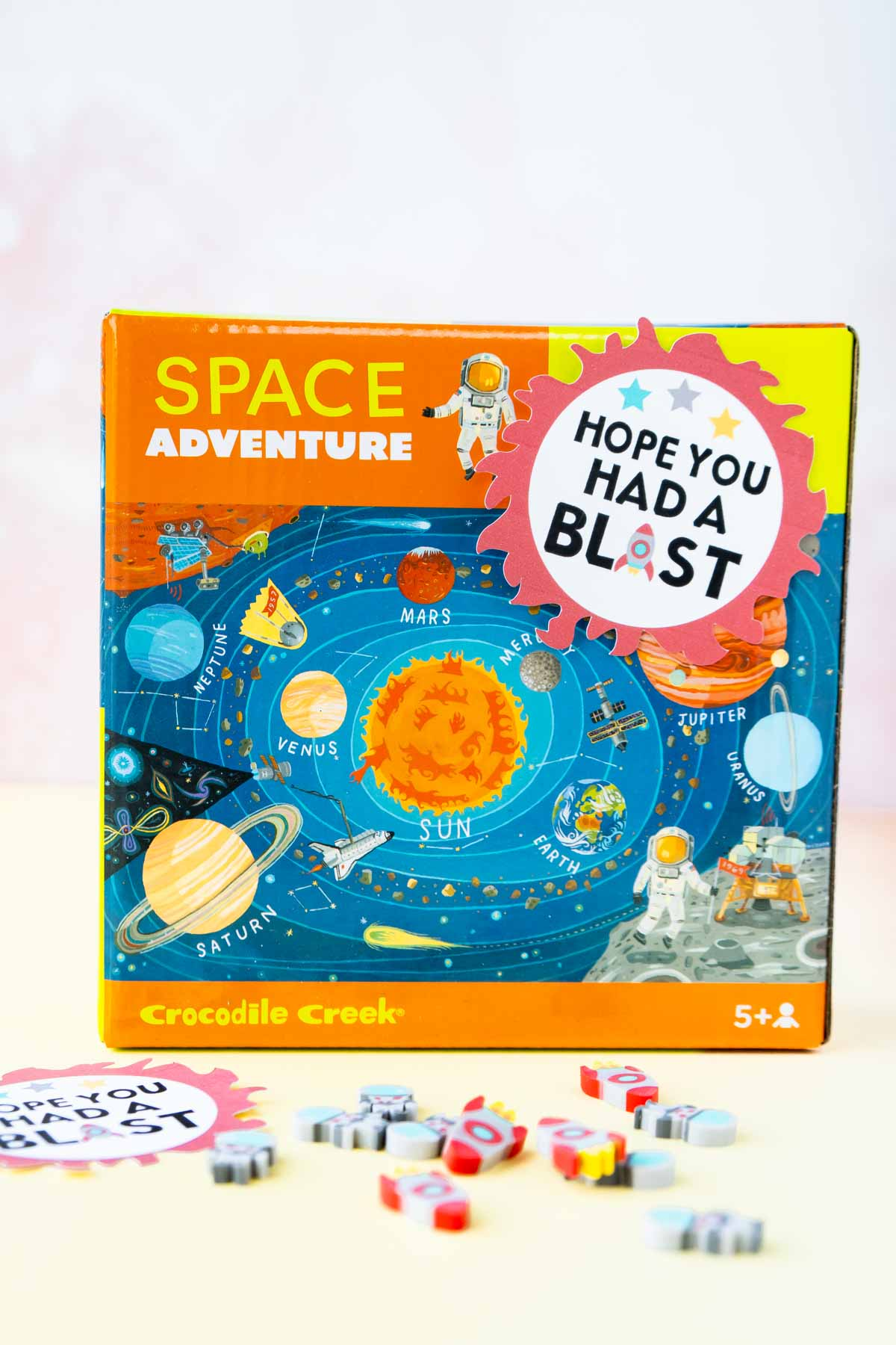 Space puzzle with a space party favor tag