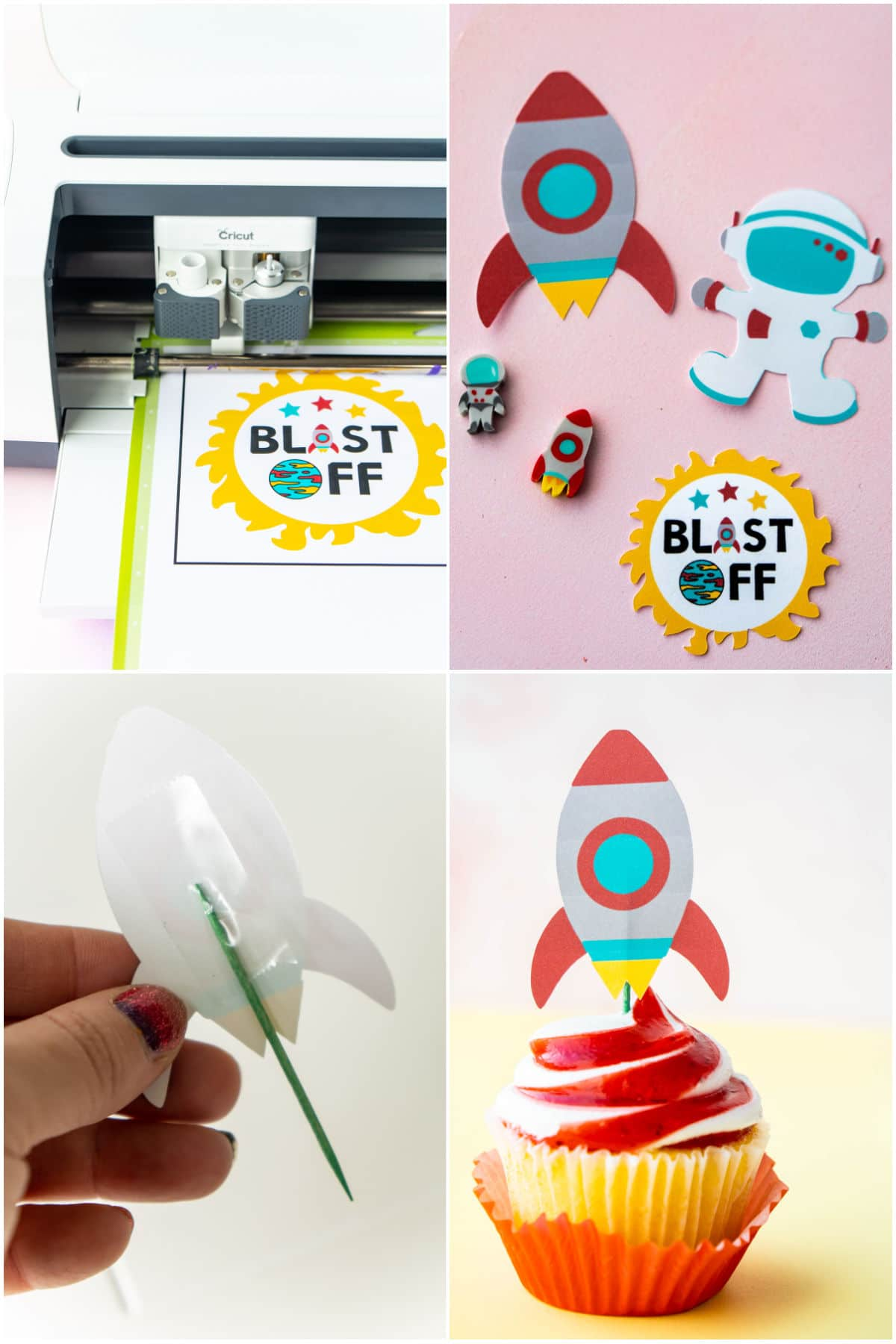 collage of images showing DIY cupcake toppers