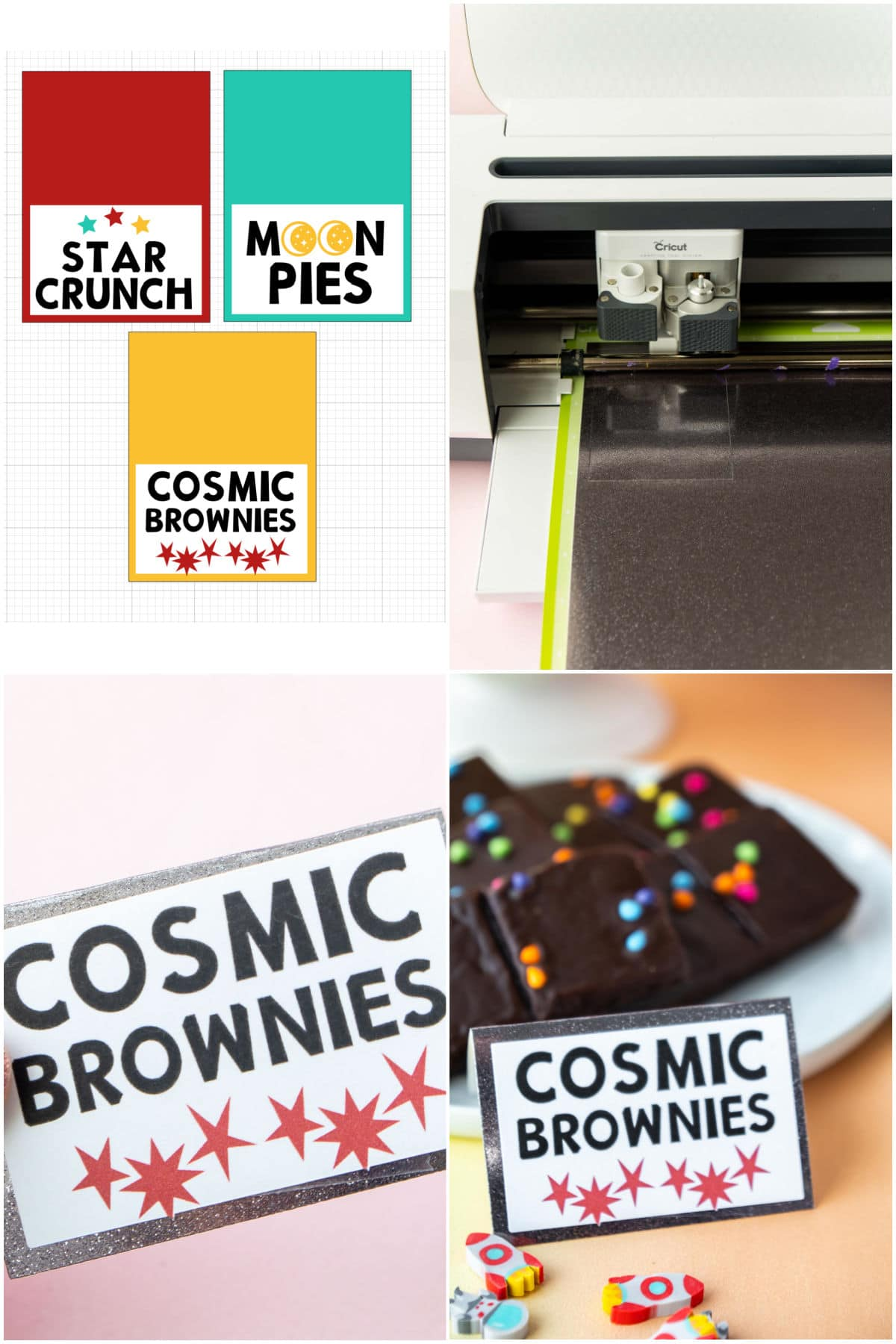 Collage of images showing how to make DIY food cards