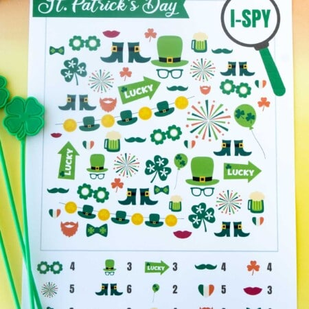 Printed out St. Patrick's Day i-spy sheet