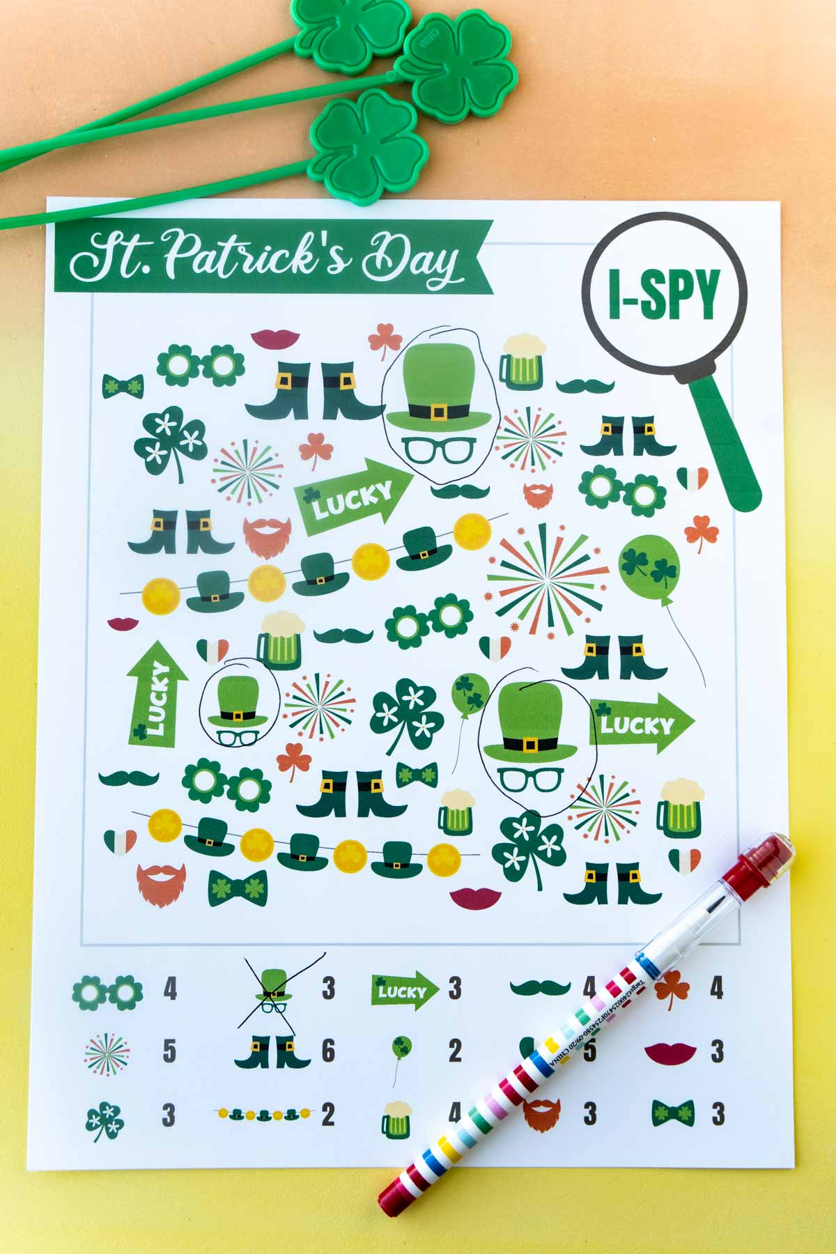 St. Patrick's Day i-spy page with items circled