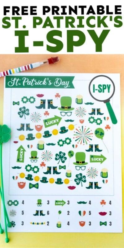 St. Patrick's Day i-spy sheet with text