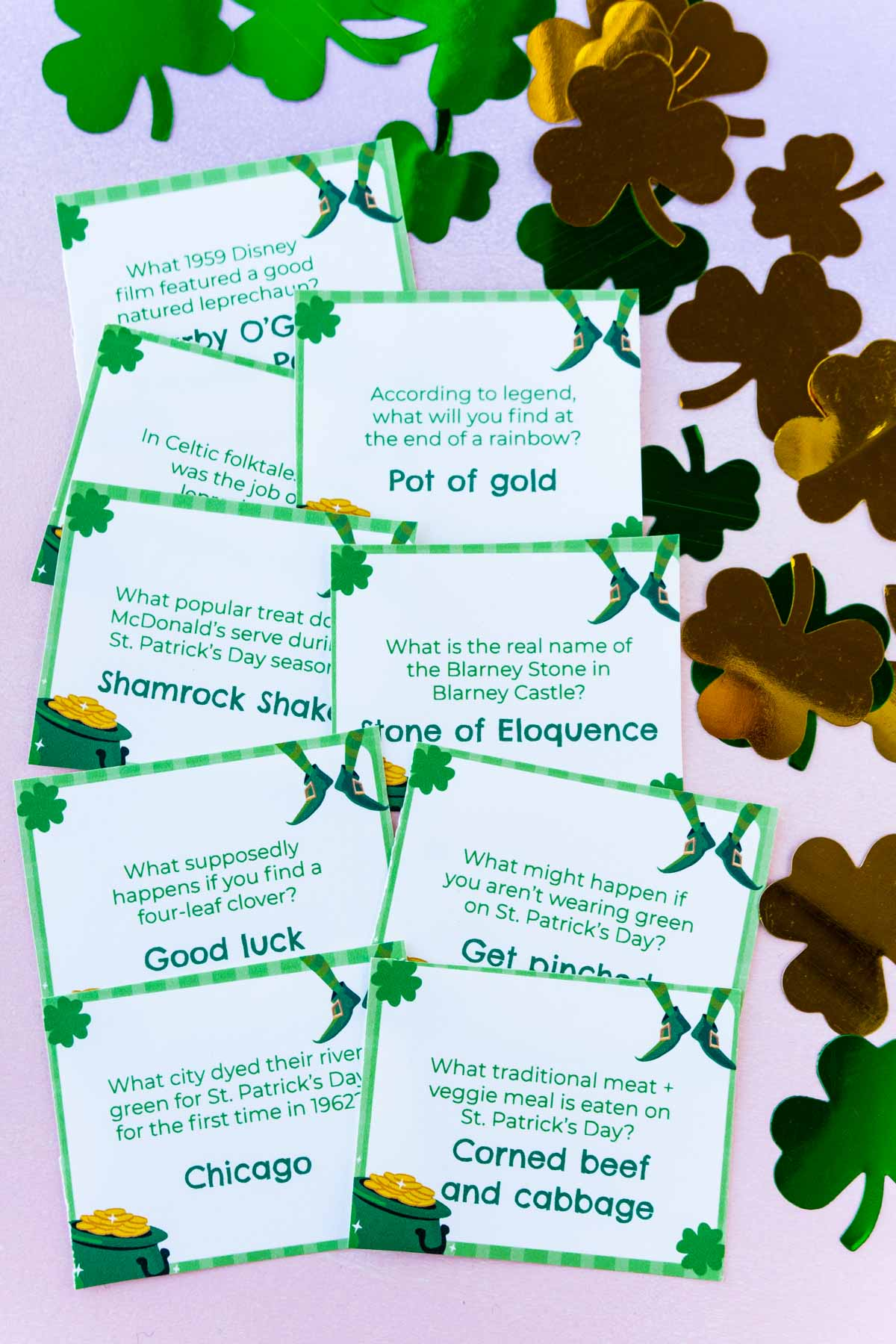 Pile of printed out St. Patrick's Day trivia questions