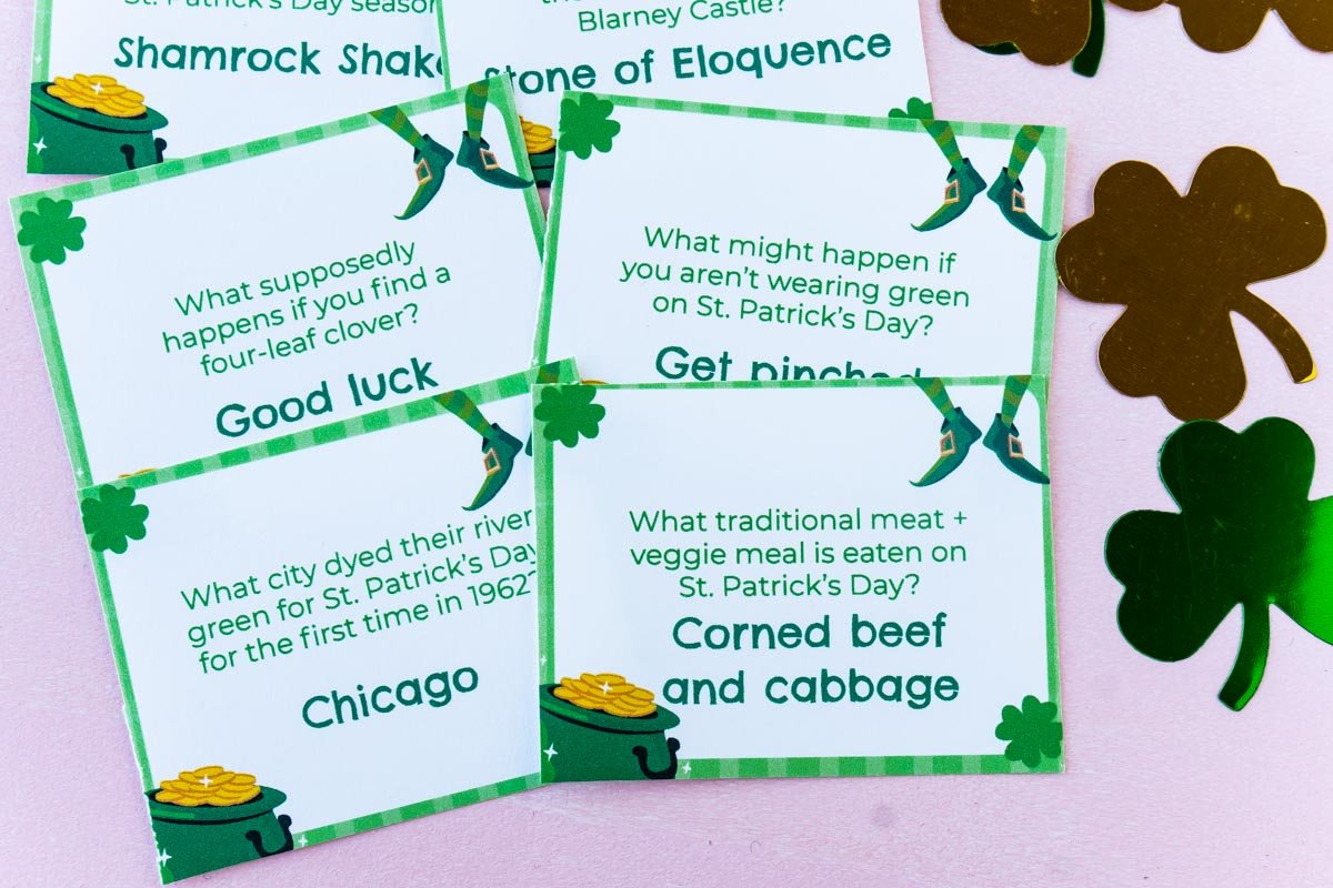Pile of St. Patrick's Day trivia cards