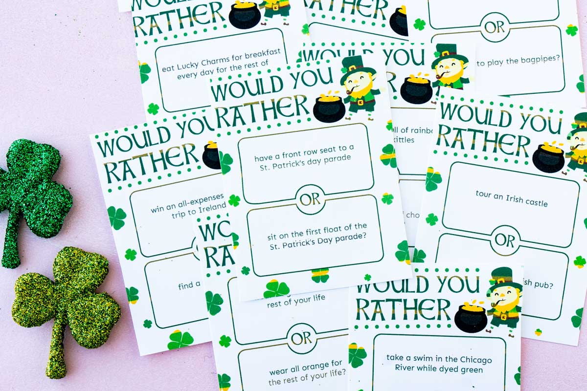 Pile of St. Patrick's Day would you rather questions