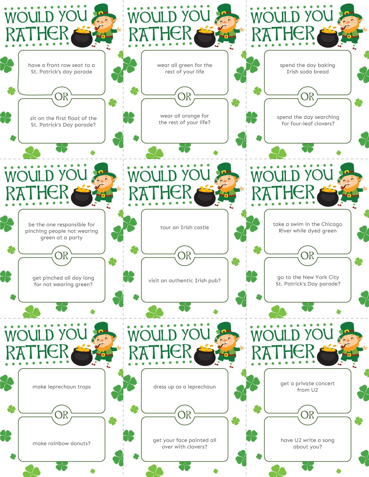 Sheet of St. Patrick's Day would you rather cards