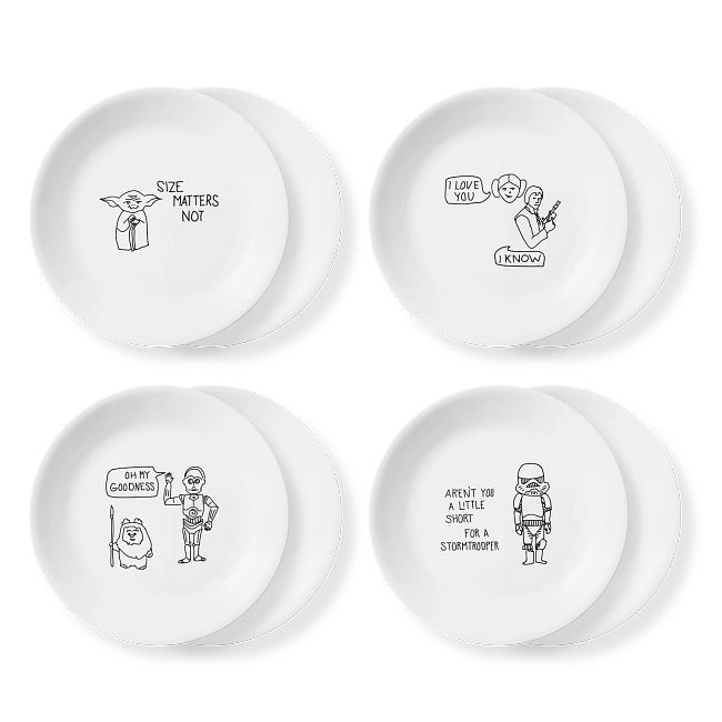 Four white plates with Star Wars quotes and characters