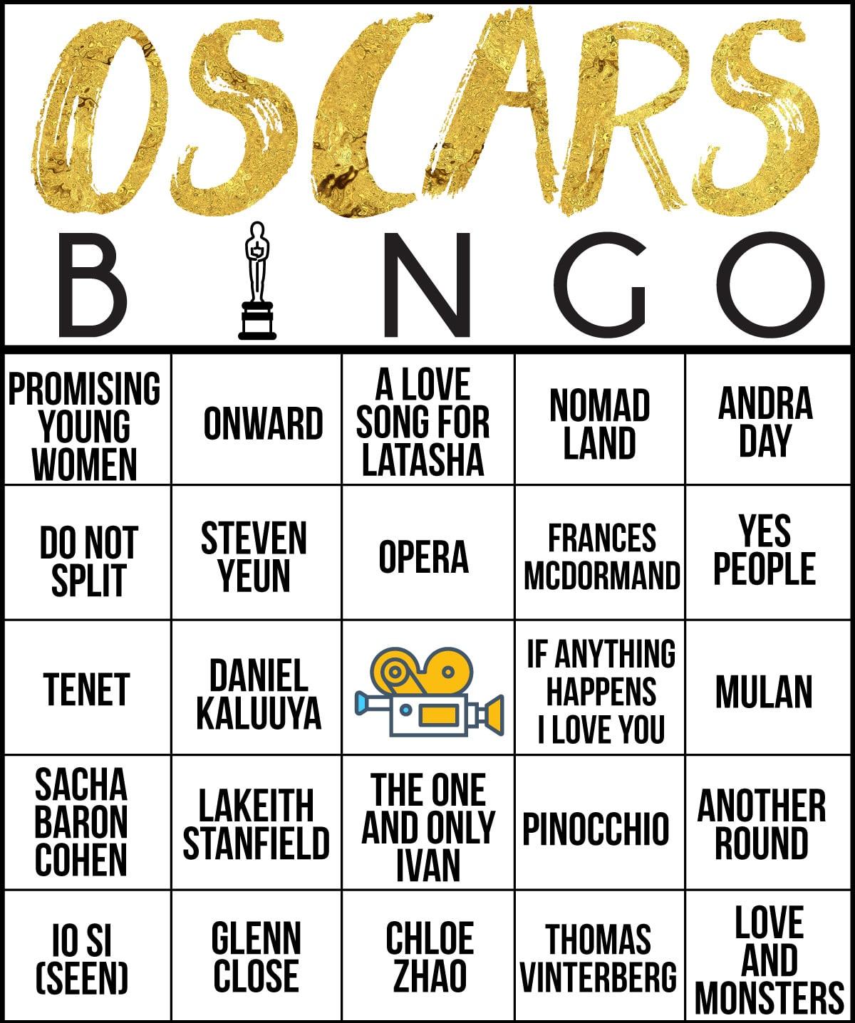 Bingo card with Oscar nominees on it