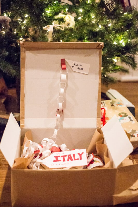 a box with a paper chain in it