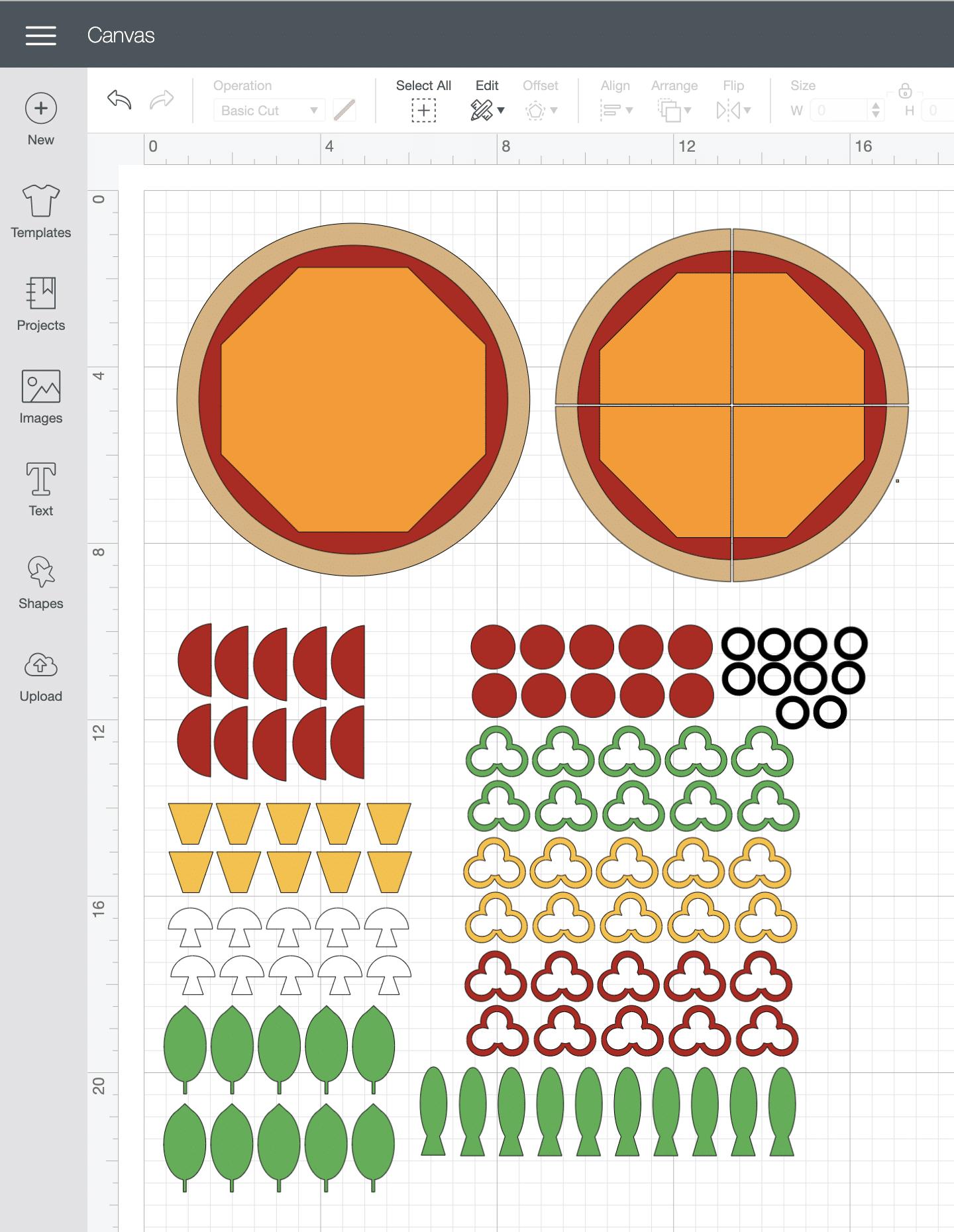Felt pizza pieces in Cricut Design Space