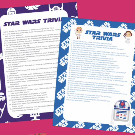 Star Wars trivia sheets