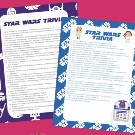 Star Wars trivia sheets
