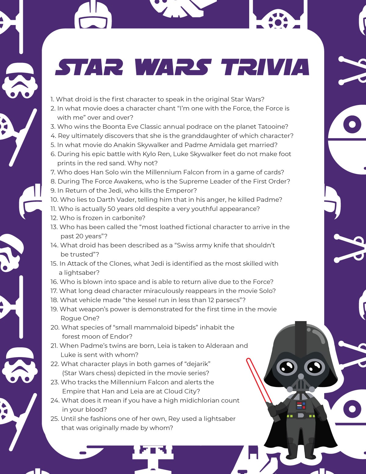 Star Wars trivia questions on a purple background
