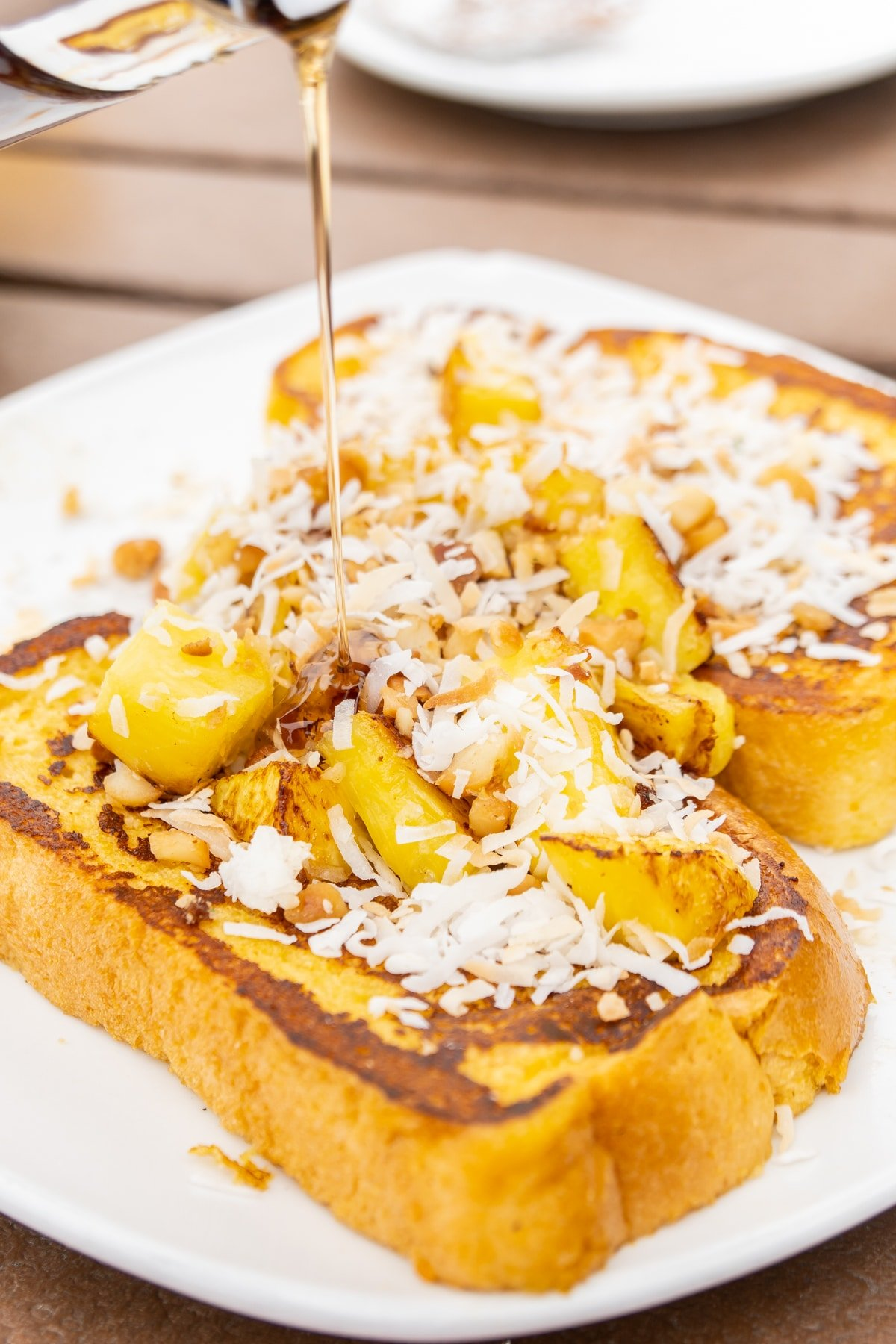 French toast with pineapples and coconut