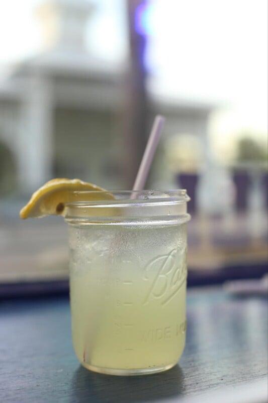 Glass of lemonade on a table