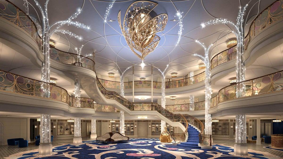 Grand Hall on Disney Wish cruise ship