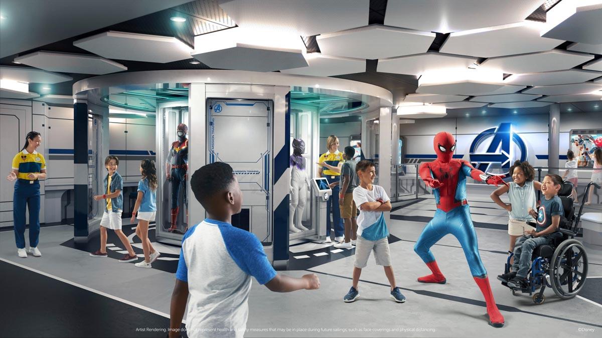 Kids with superhero characters on Disney Wish