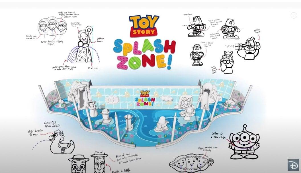Drawing of Toy Story Splash zone on Disney Wish