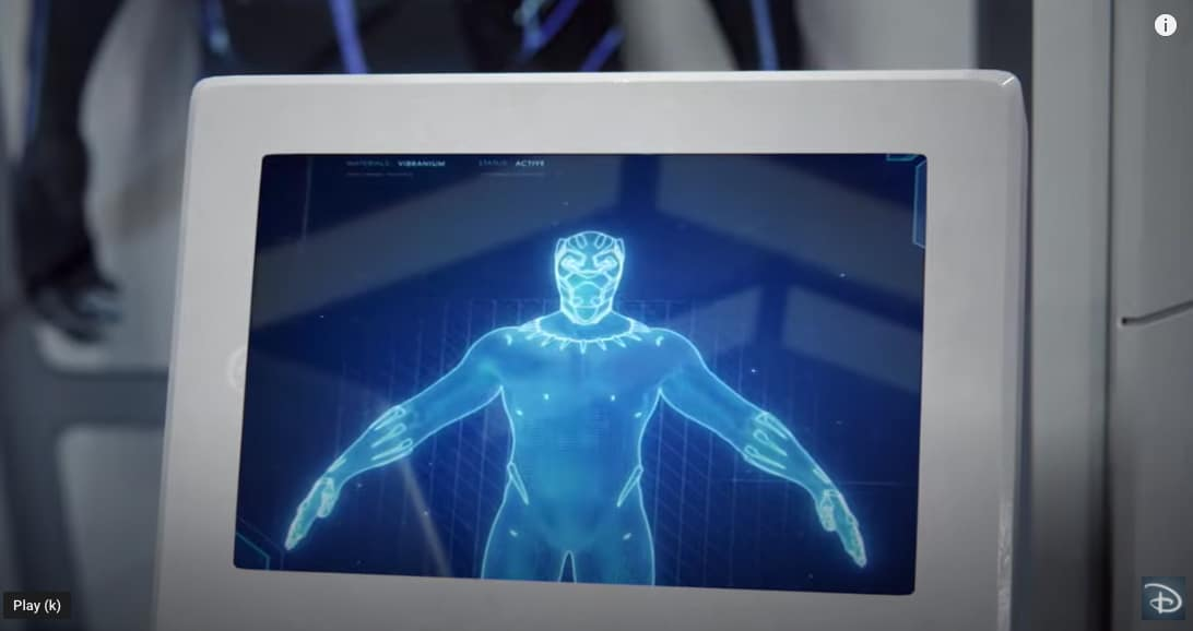 Black Panther suit on a screen