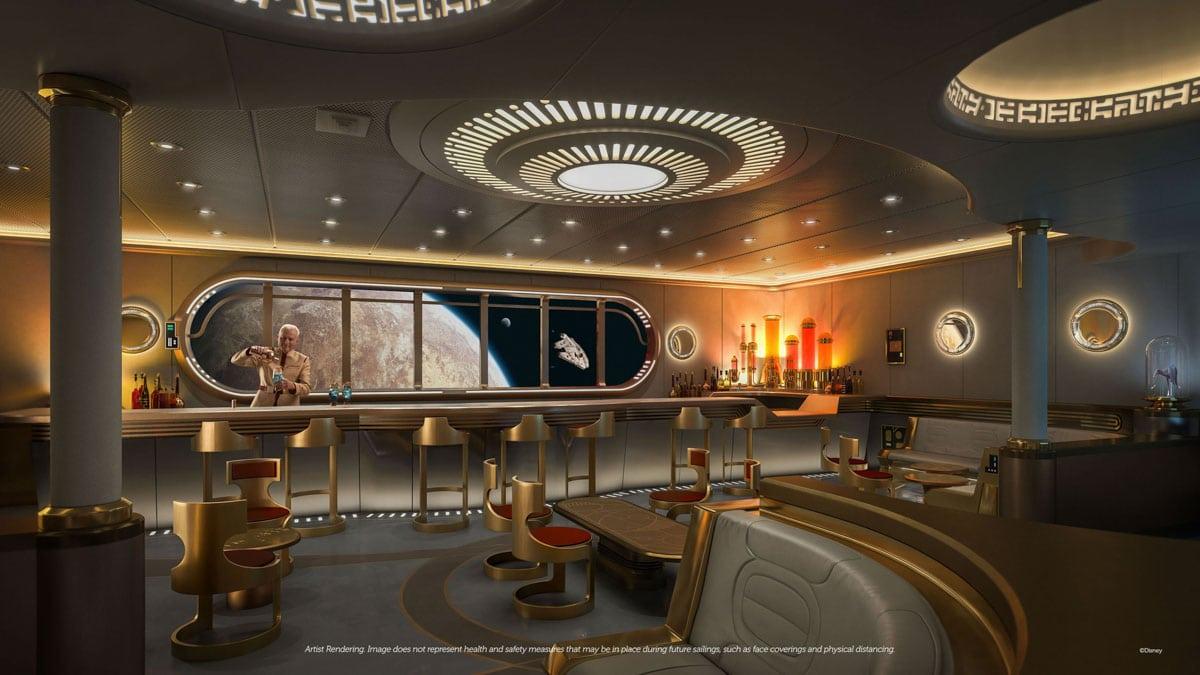 Star Wars lounge and bar area on Disney Wish