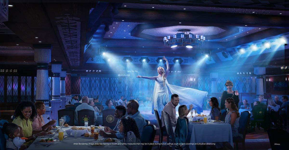 Elsa singing while families eat on Disney Wish