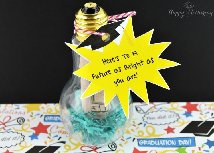 Light bulb graduation gift with a tag