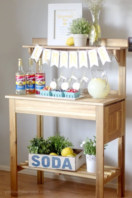 Desk with a lemonade bar on it