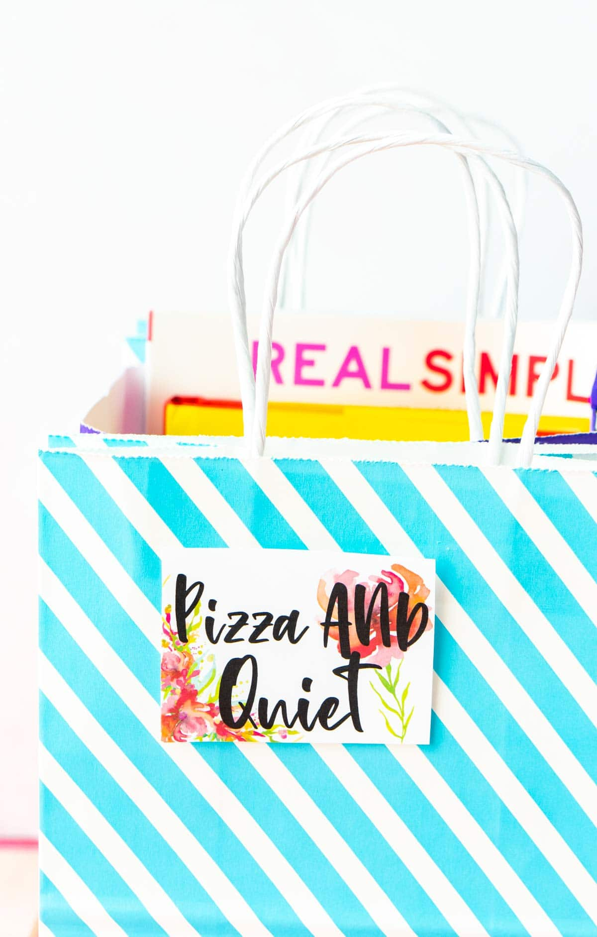 Mother's Day baskets with a label that says pizza and quiet