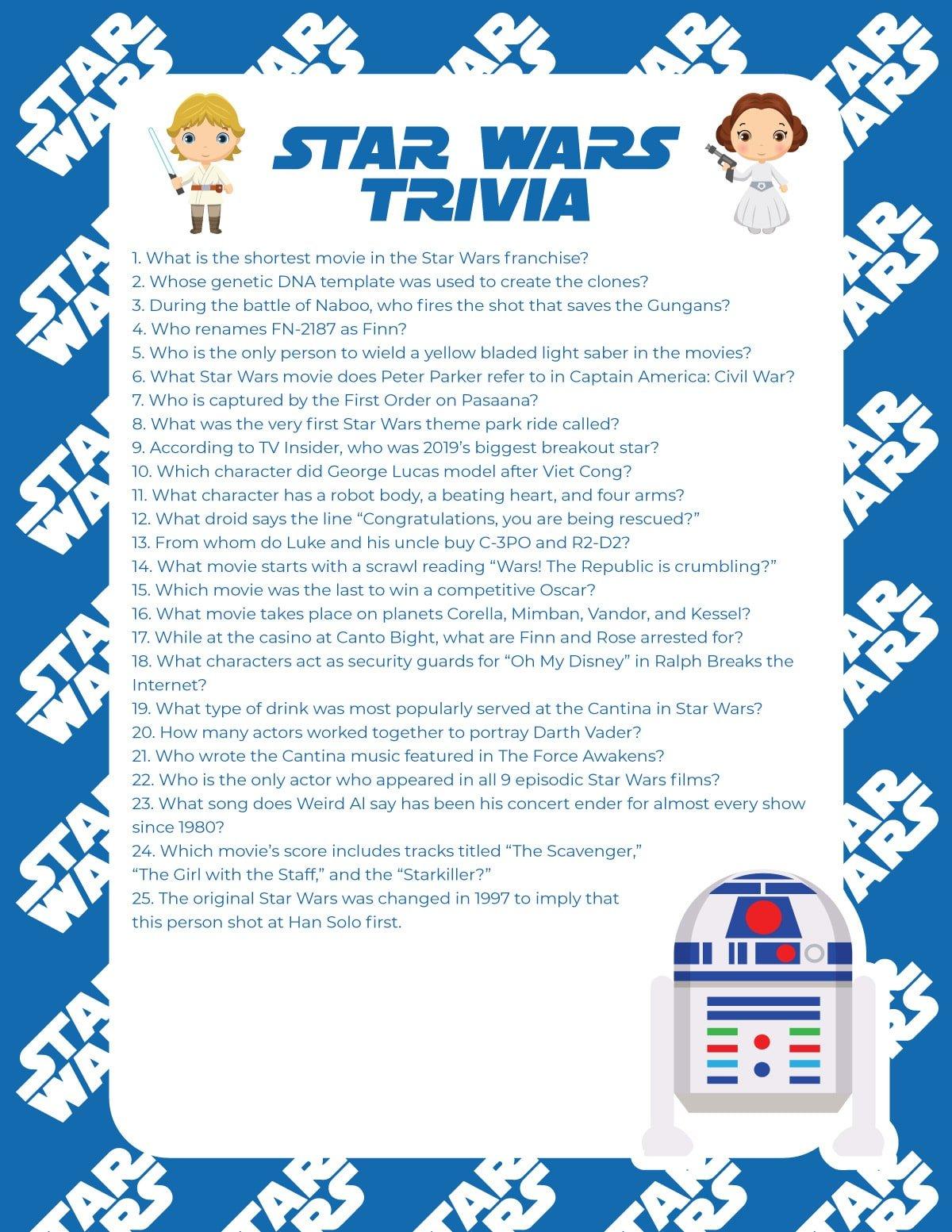 Star Wars trivia quiz with blue background
