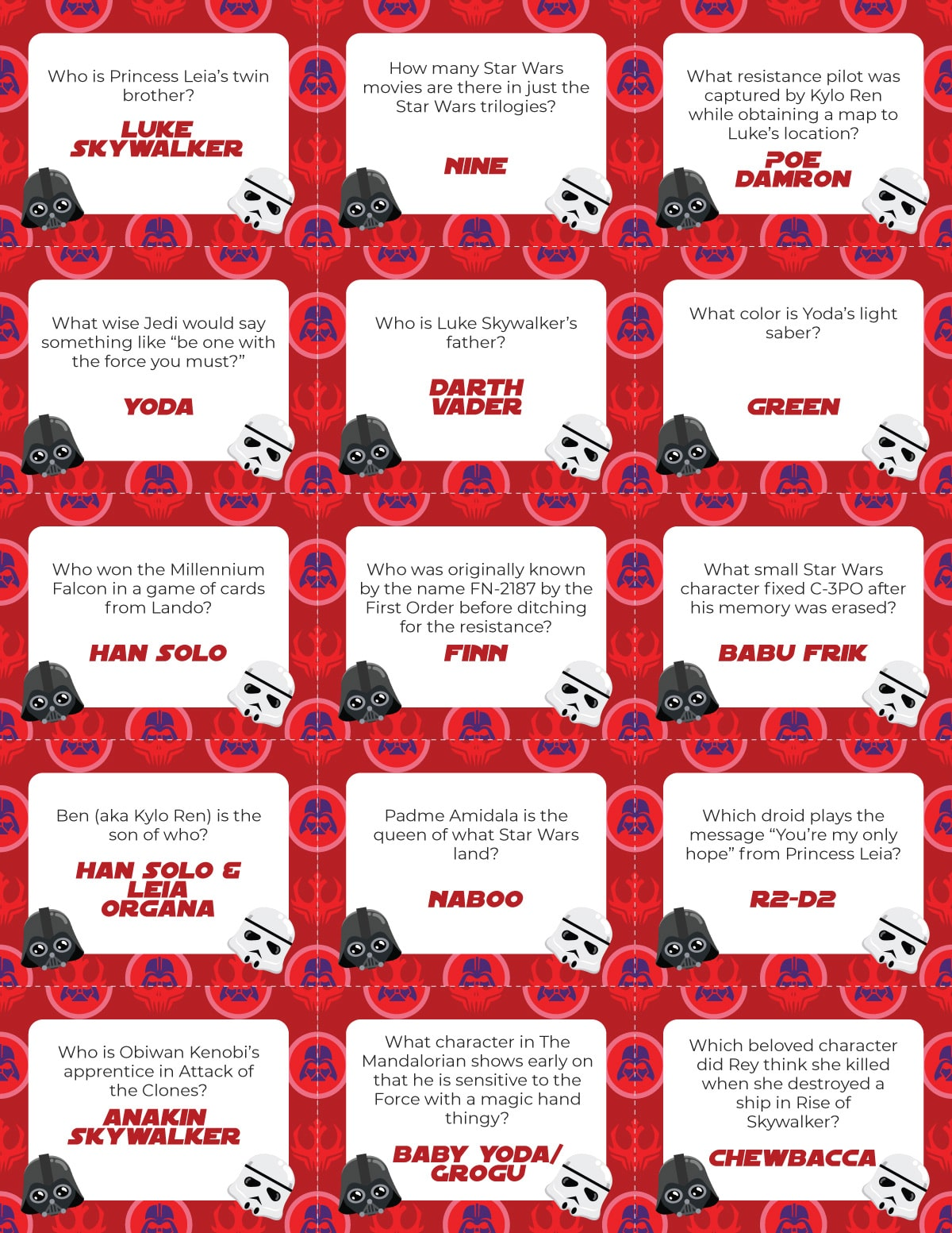 Star Wars trivia question cards with a red background