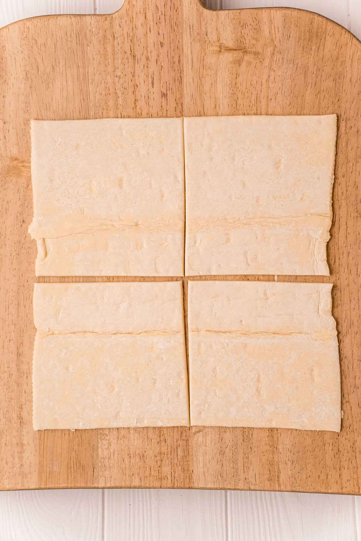 Puff pastry sheet cut into four squares