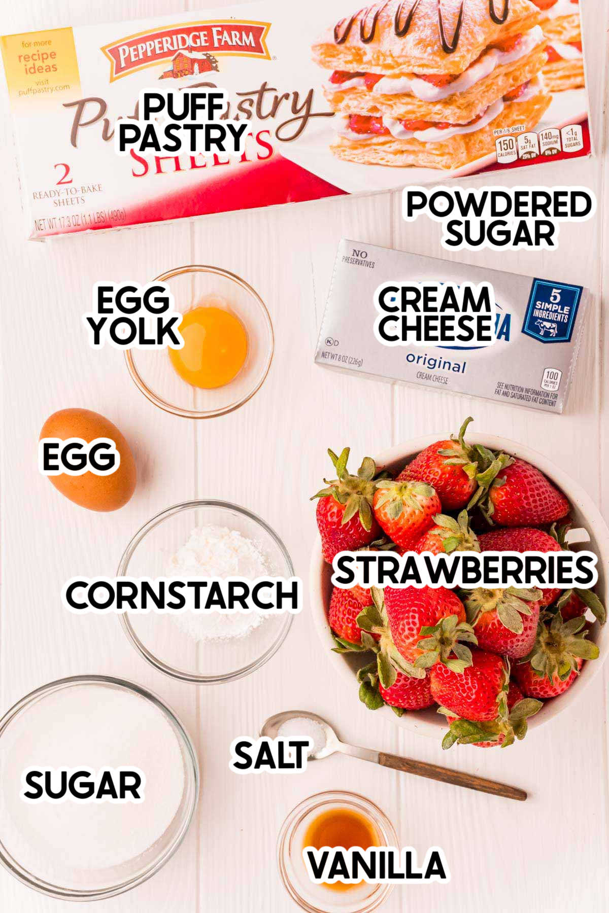 ingredients needed for strawberry danishes with labels