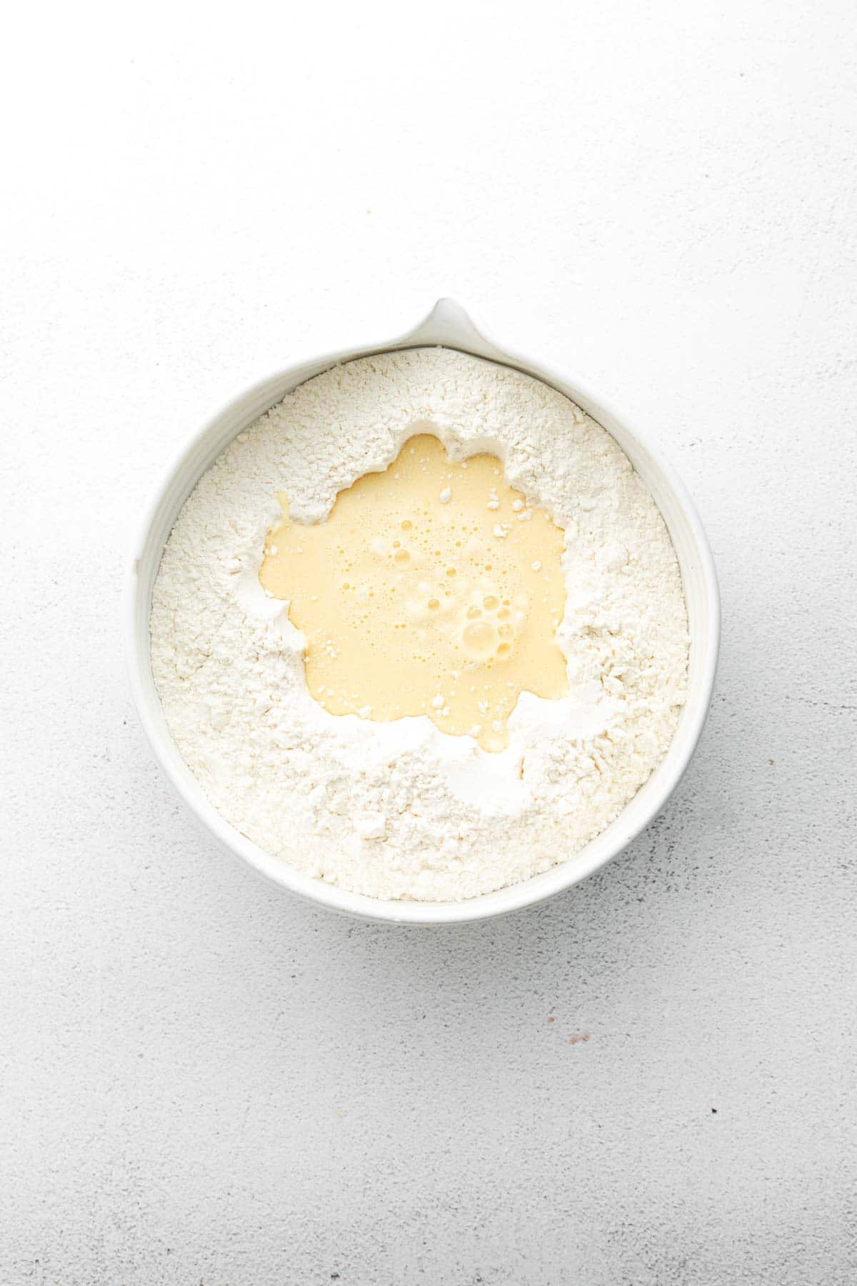 mixing bowl with flour and butter mixture
