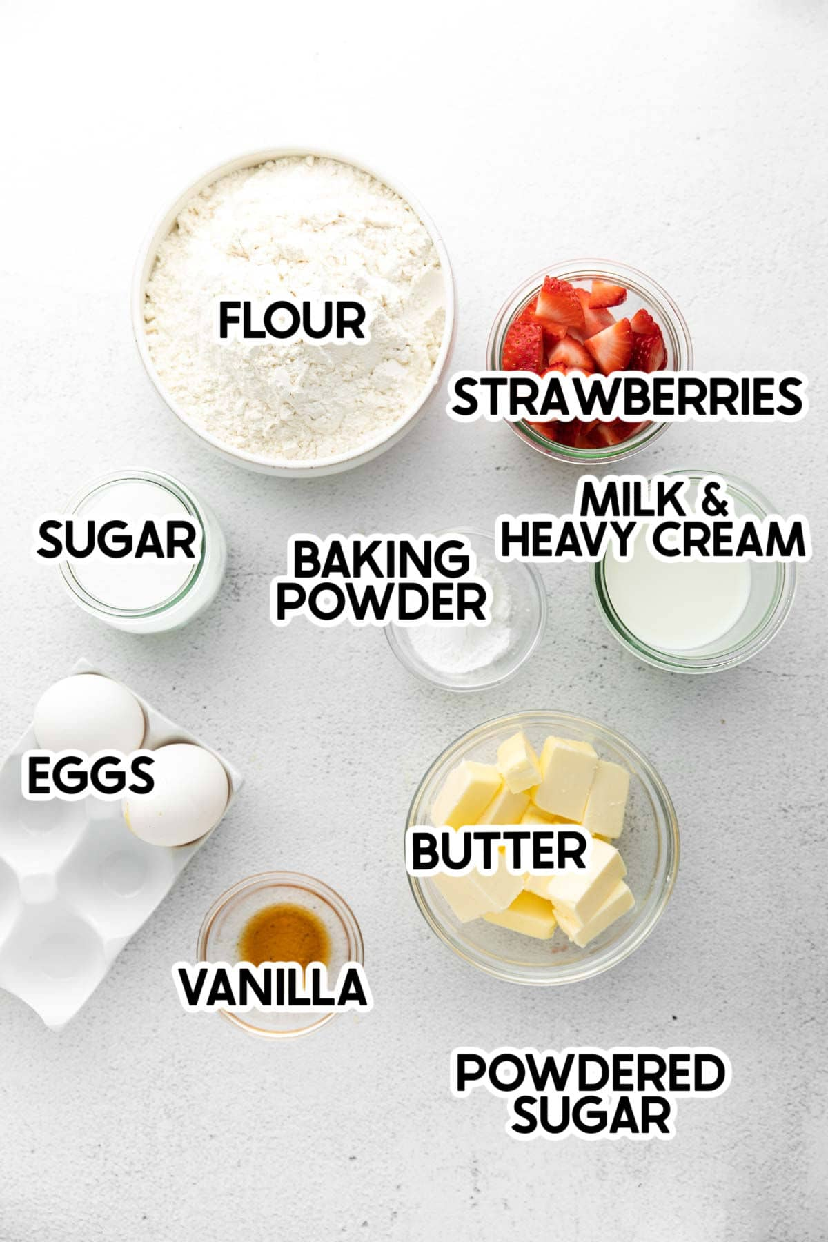 ingredients needed to make strawberry scones with labels
