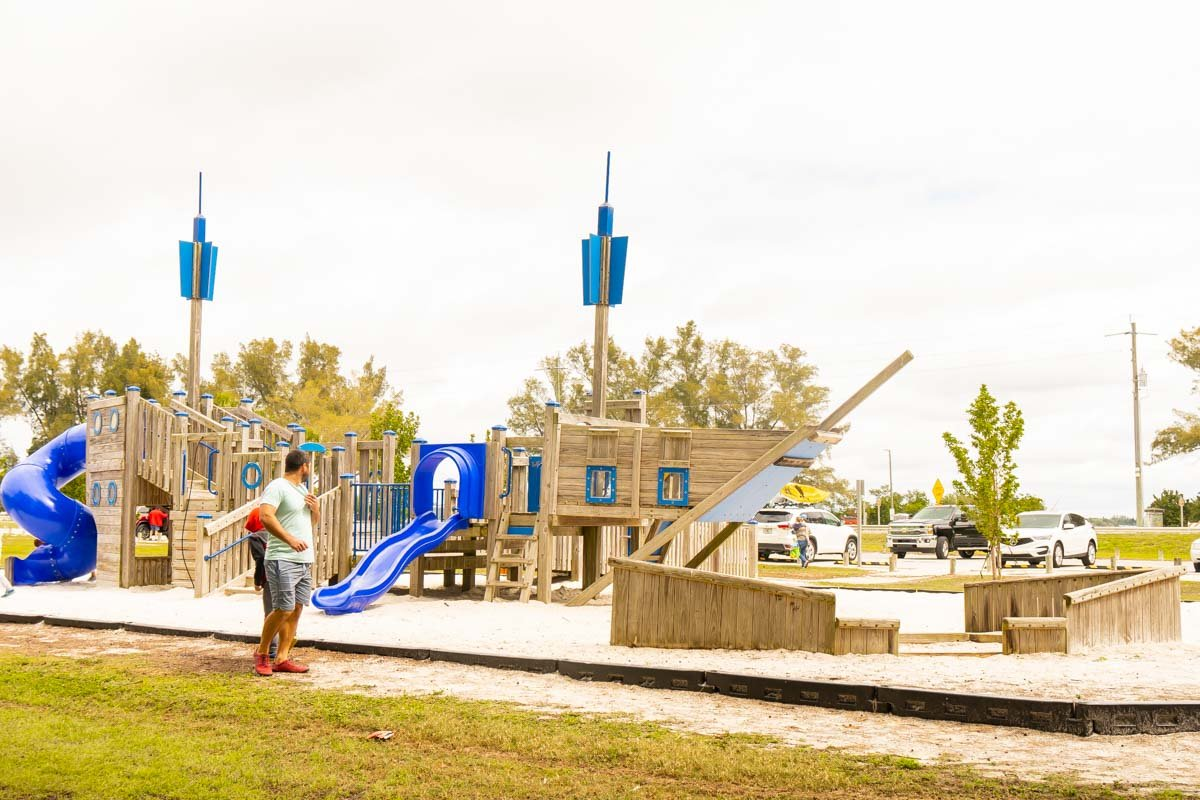 ship shaped playground with kids