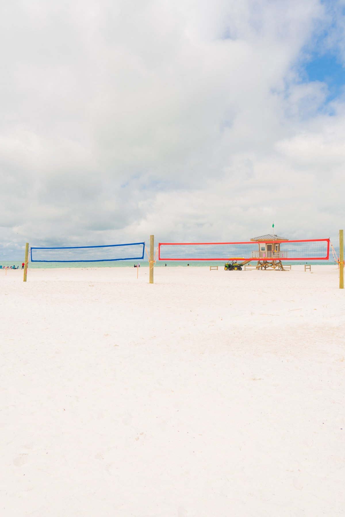 Sand volleyball nets on a beach
