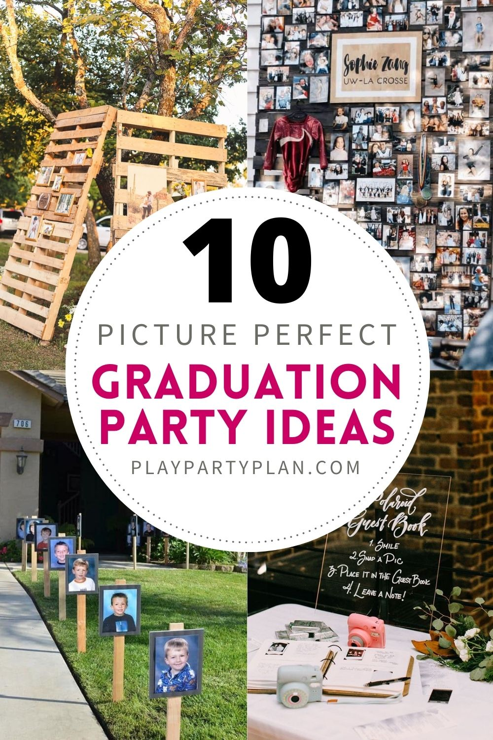 collage of four photos with picture graduation ideas