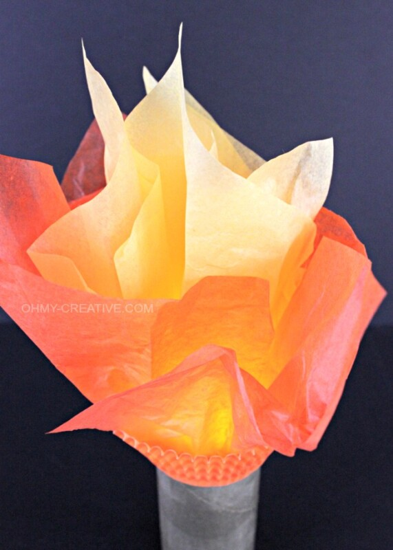 Olympic torch out of tissue paper