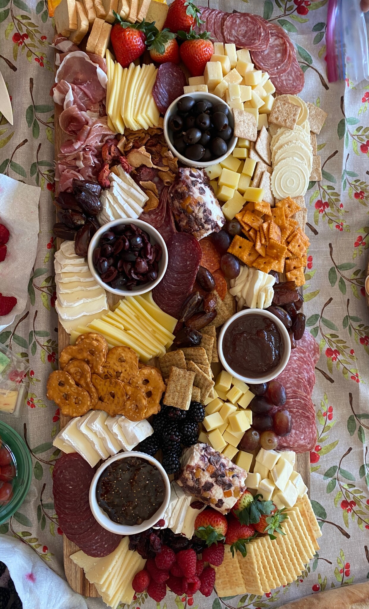 Extra large charcuterie board with meats and cheeses