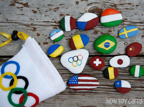 rocks painted to look like world flags