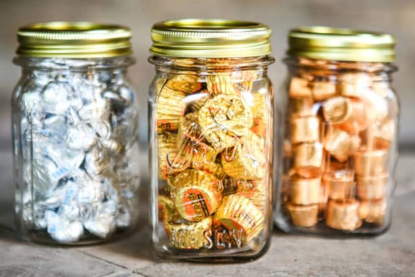 Glass jars with candy in them