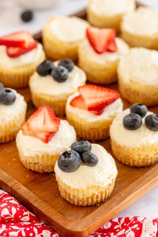 plate with fruit topped mini cheesecakes