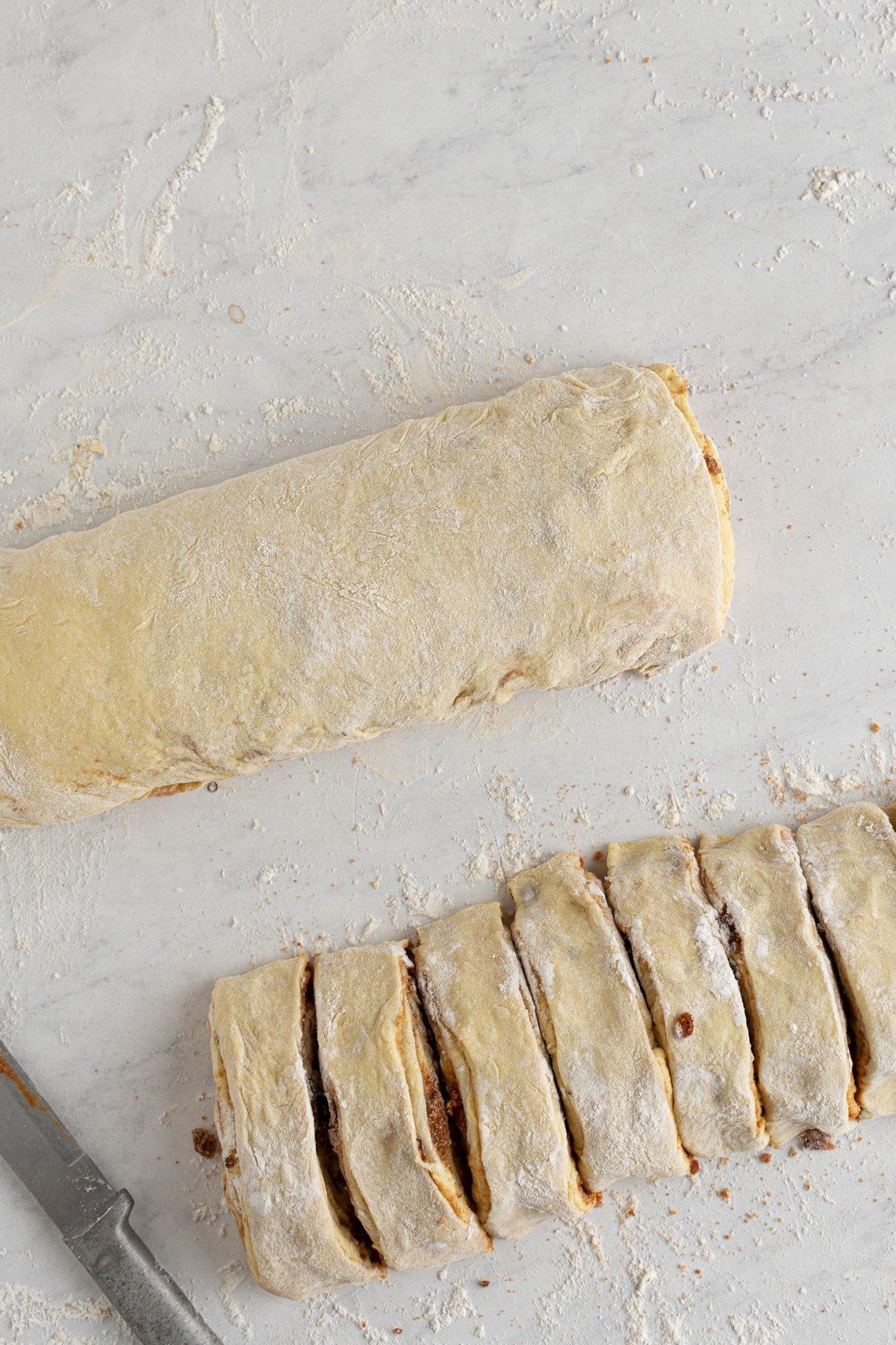 cut bacon cinnamon rolls
