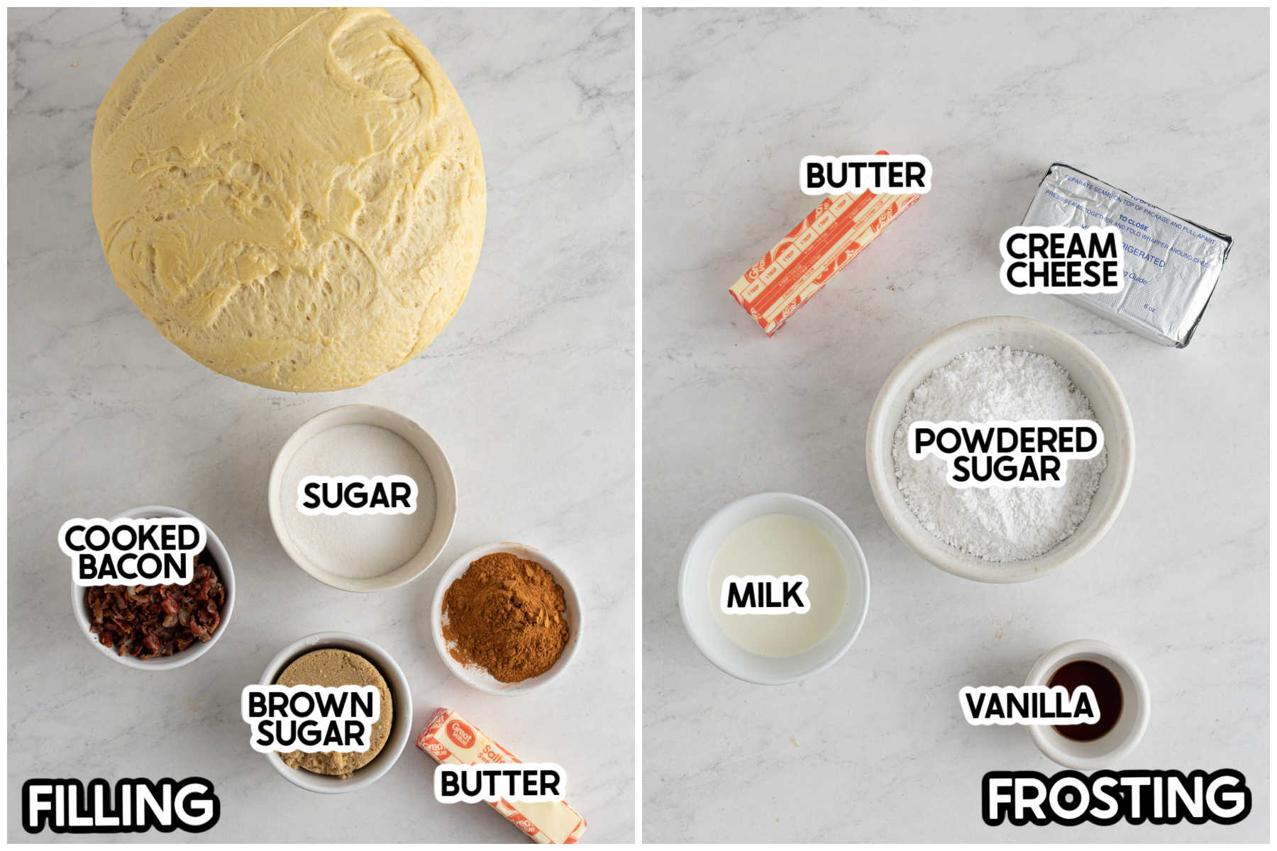 ingredients for bacon cinnamon roll toppings with labels