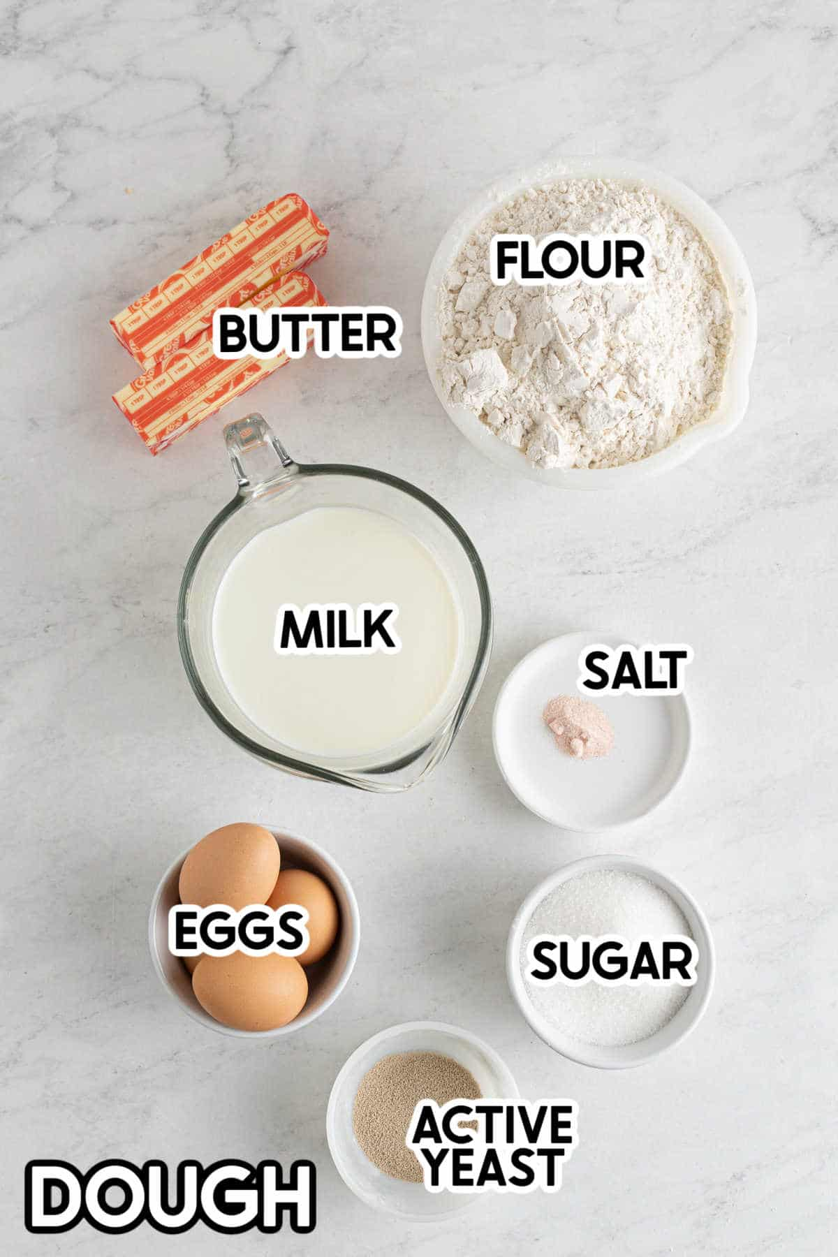 ingredients for bacon cinnamon rolls with labels