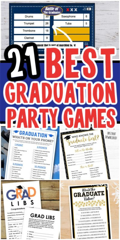collage of printed out graduation games