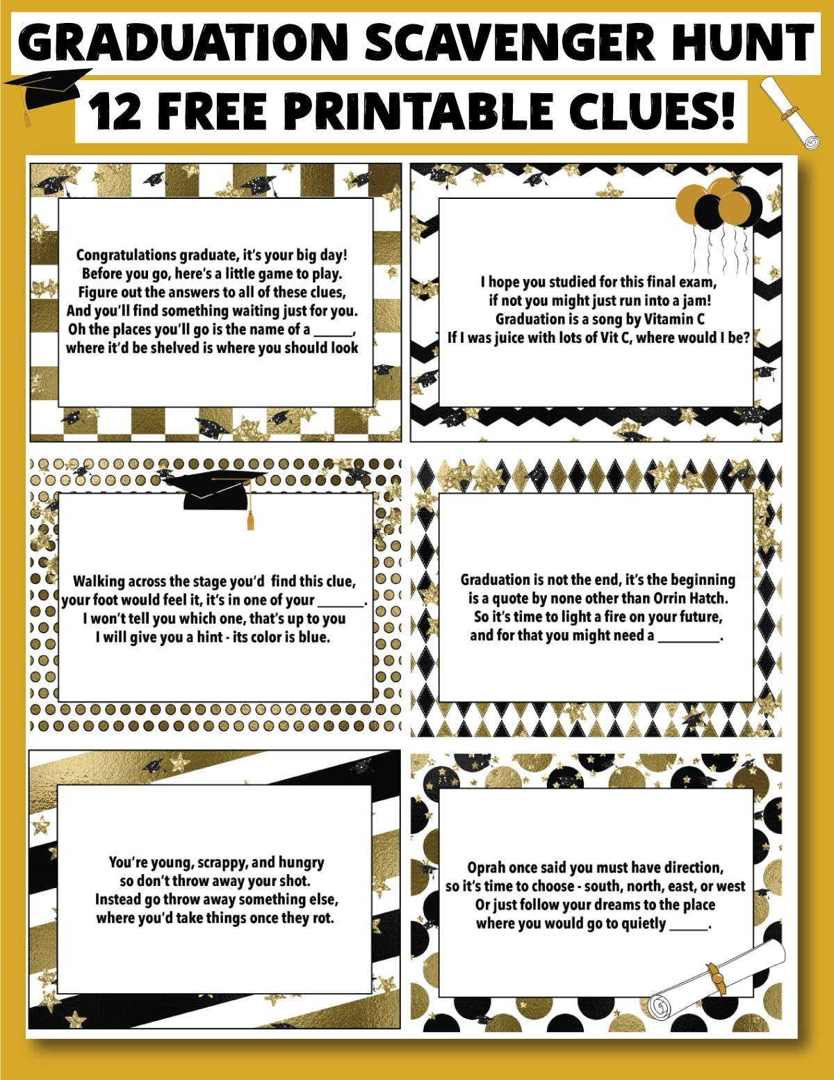 graduation scavenger hunt clues on a gold background