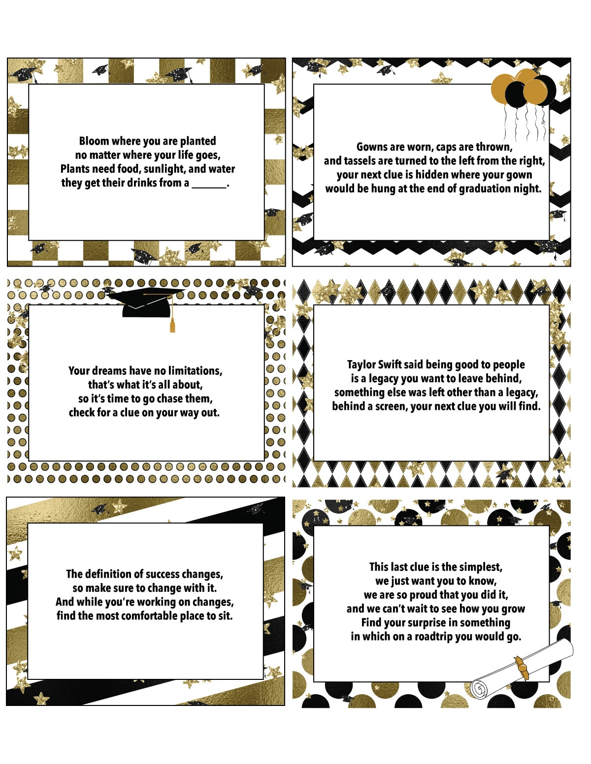 printable graduation scavenger hunt clues on a white background