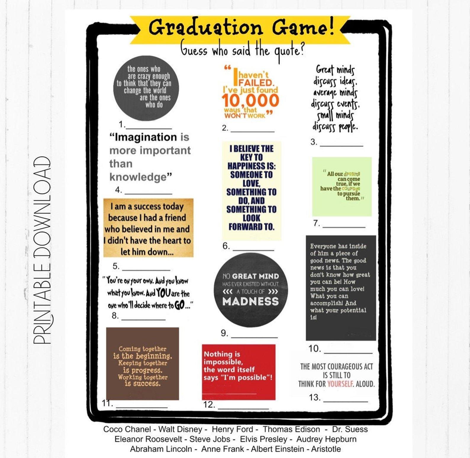 digital copy of a graduation quotes game